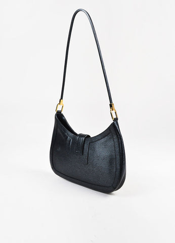 Gucci Black Coated Leather Shoulder Bag Sideview
