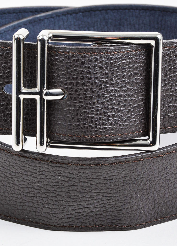 Dark Brown and Dusty Blue Hermes Reversible Pebbled Leather Elongated 'H' Buckle Belt Detail