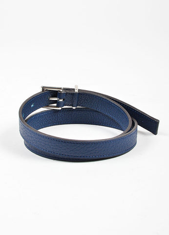 Navy Blue Hermes Pebbled Leather Silver Toned Hardware Skinny Belt Backview