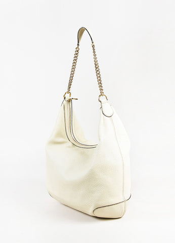 "Gucci ""Mystic White"" Pebbled ""Soho Leather Chain Hobo"" Bag Back"