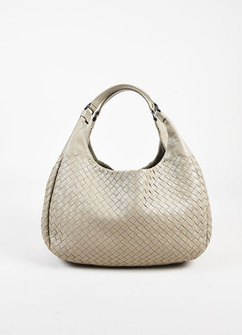 "Bottega Veneta Grey Leather Woven Medium ""Campana"" Bag Frontview"