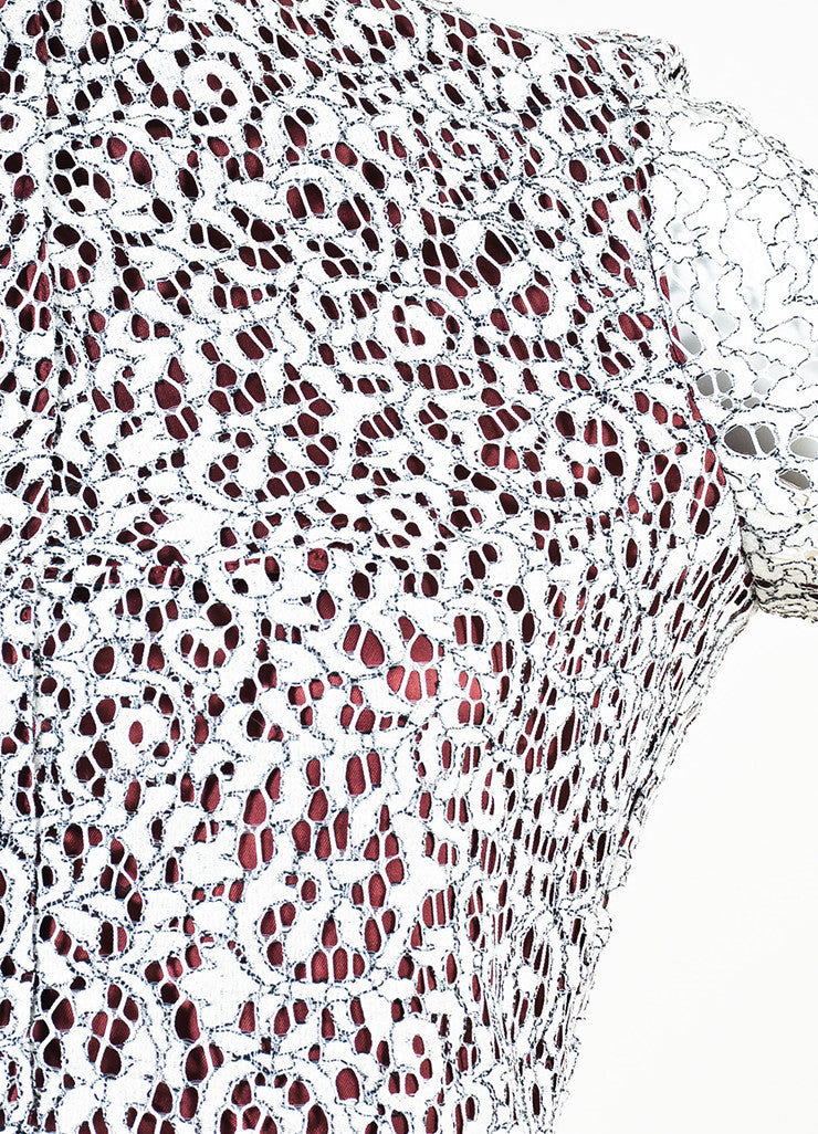 Carven White, Black, and Burgundy Floral Lace Overlay Long Sleeve Dress Detail
