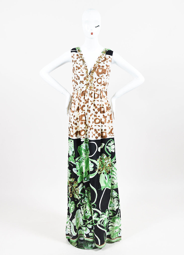 Emilio Pucci Green Multicolor Silk Mixed Print Embellished Gown Front 2