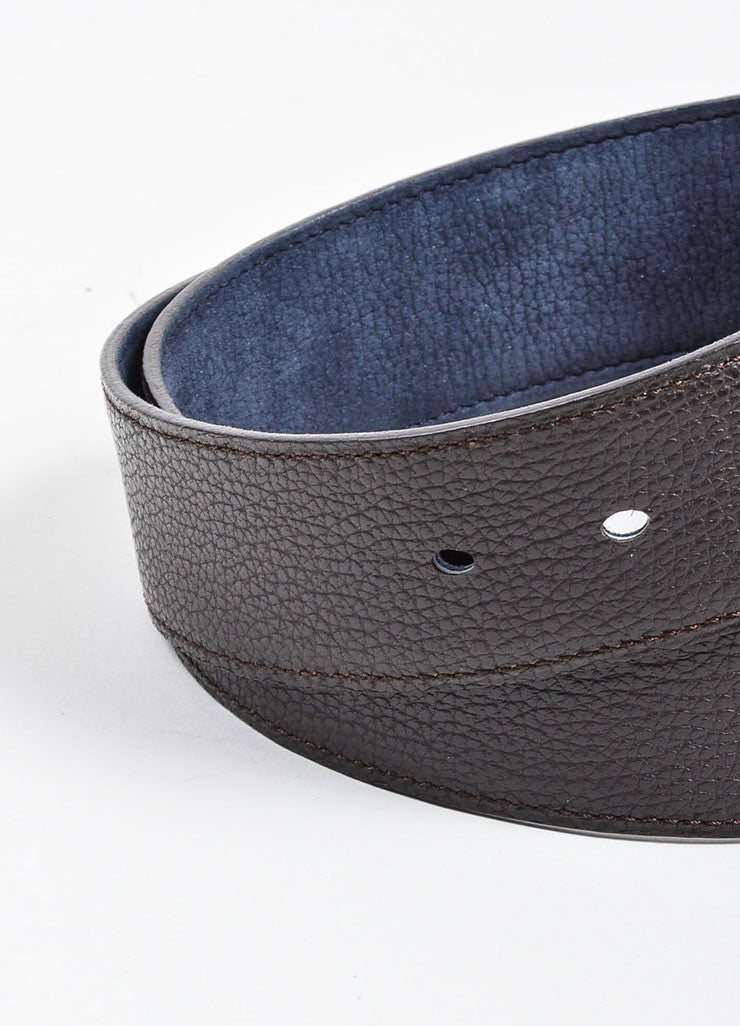 Dark Brown and Dusty Blue Hermes Reversible Pebbled Leather Elongated 'H' Buckle Belt Detail 2