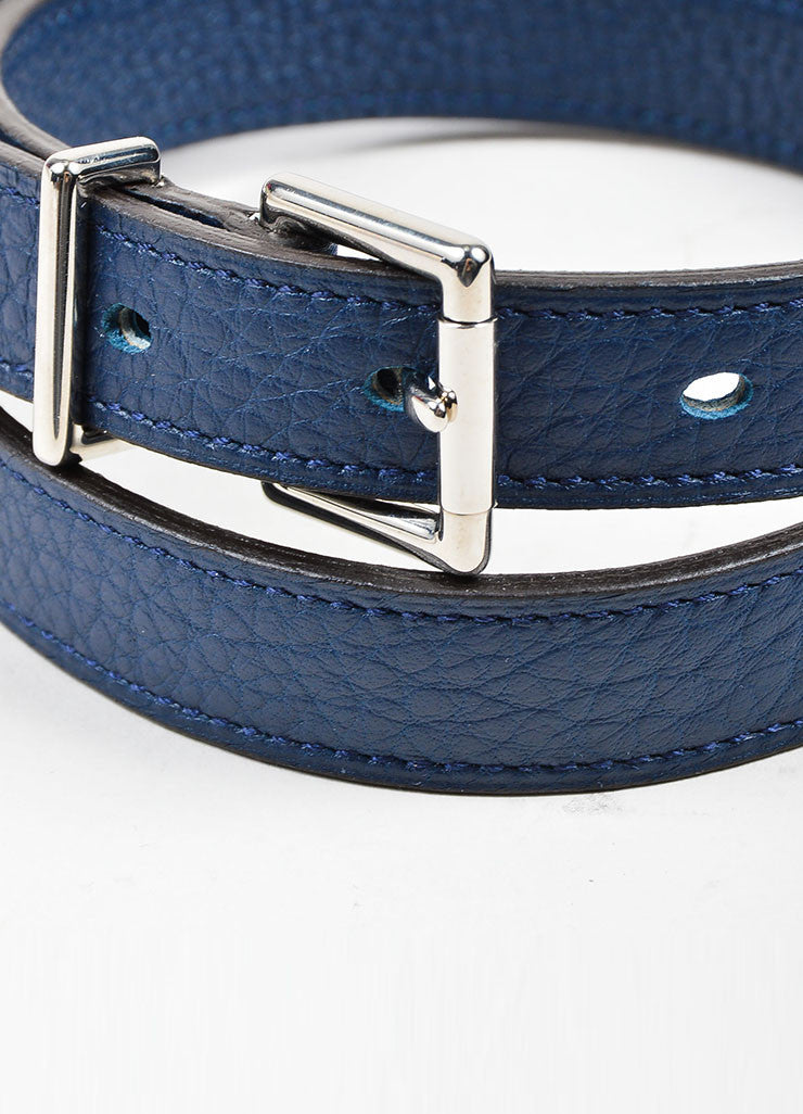 Navy Blue Hermes Pebbled Leather Silver Toned Hardware Skinny Belt Detail