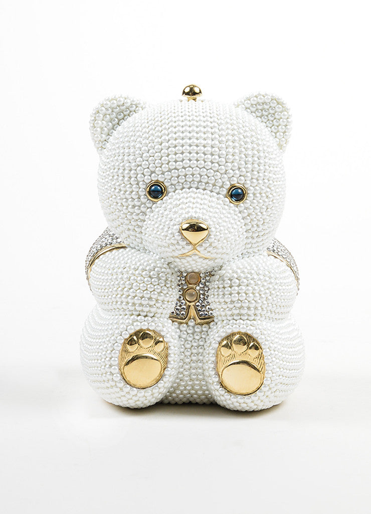 Judith Leiber Wedding White and Gold Toned Faux Pearl Rhinestone Bear Bag Frontview