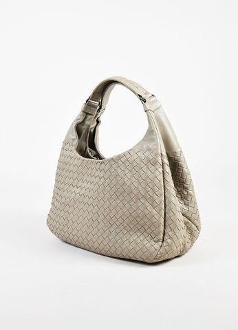 "Bottega Veneta Grey Leather Woven Medium ""Campana"" Bag Sideview"