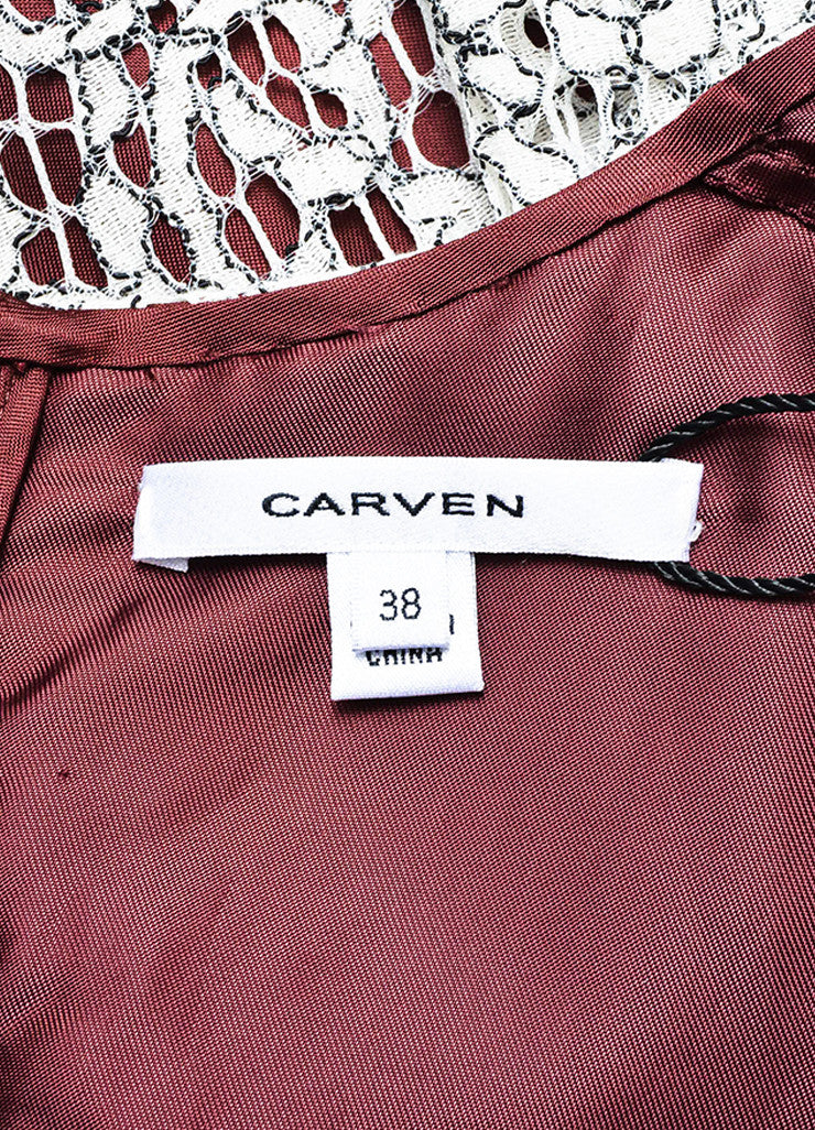 Carven White, Black, and Burgundy Floral Lace Overlay Long Sleeve Dress Brand