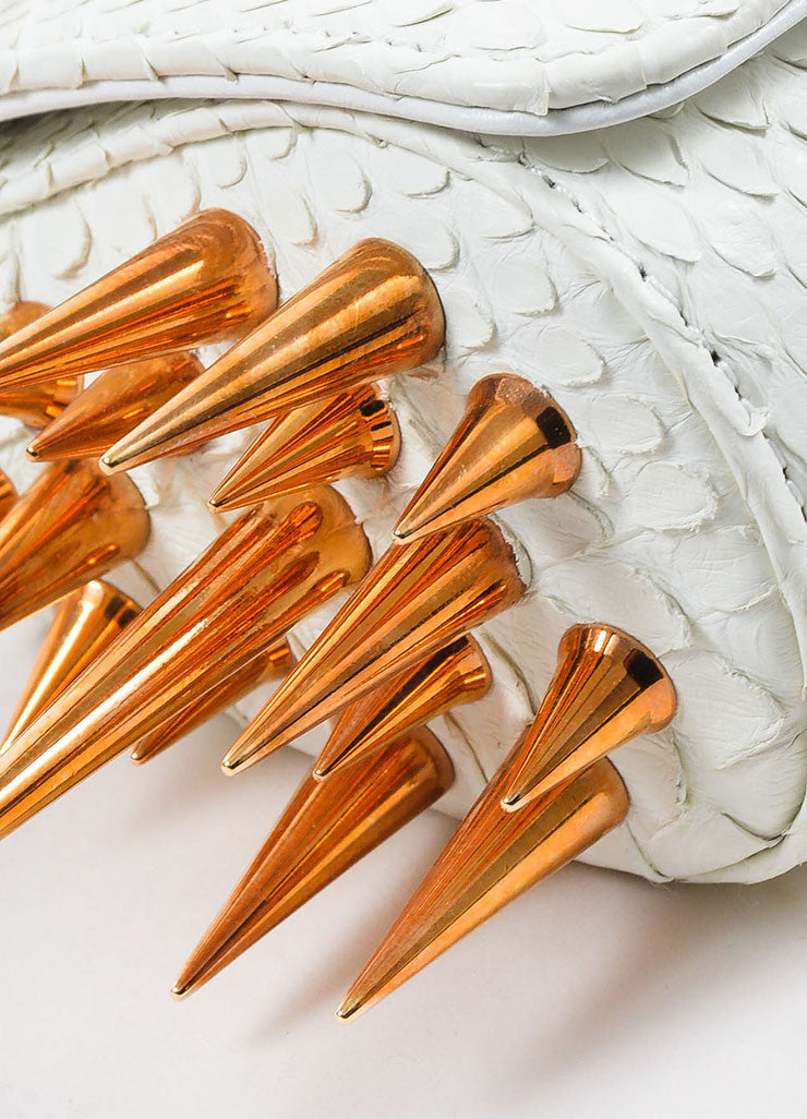 "Christian Louboutin White Python Rose Gold Toned Spike ""Marquise"" Clutch Bag Detail"
