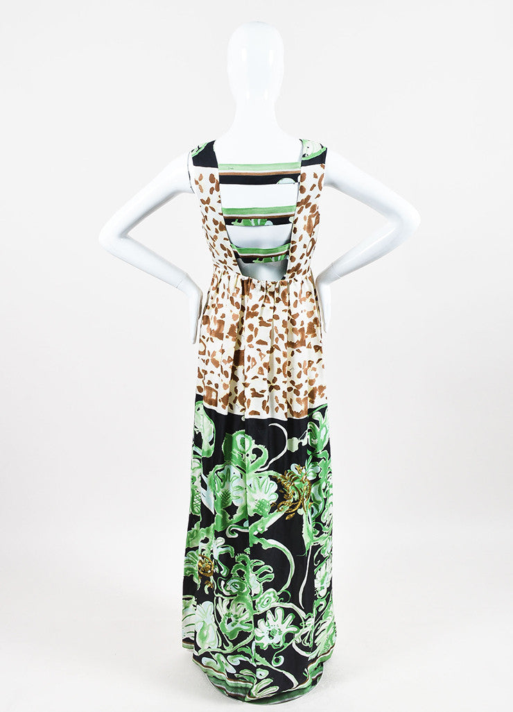 Emilio Pucci Green Multicolor Silk Mixed Print Embellished Gown Back