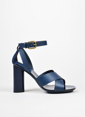 "Navy Gucci Leather Criss Cross Ankle Strap ""Candy"" Heeled Sandals"