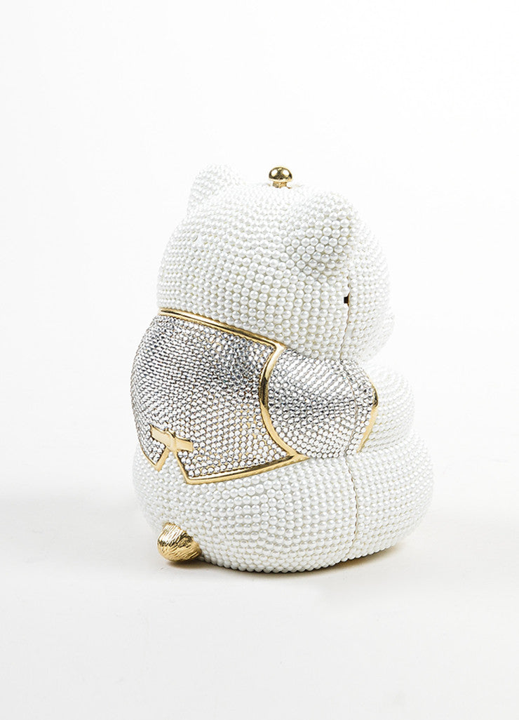 Judith Leiber Wedding White and Gold Toned Faux Pearl Rhinestone Bear Bag Sideview