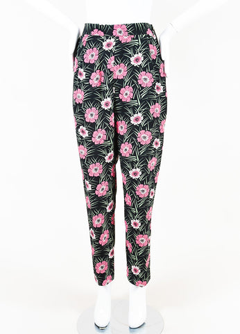 Marni  Black Pink Green Floral Print Trousers Front