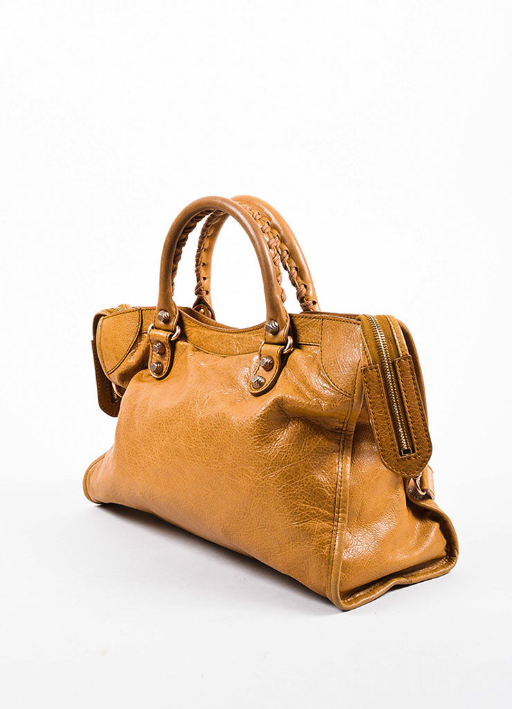 "Balenciaga Light Brown Leather ""Giant 12 Gold City"" Bag Sideview"