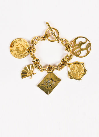 Karl Lagerfeld Gold Toned Charm Chain Bracelet Frontview