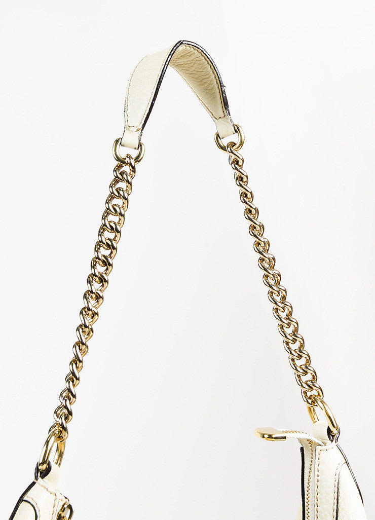 "Gucci ""Mystic White"" Pebbled ""Soho Leather Chain Hobo"" Bag Detail 3"
