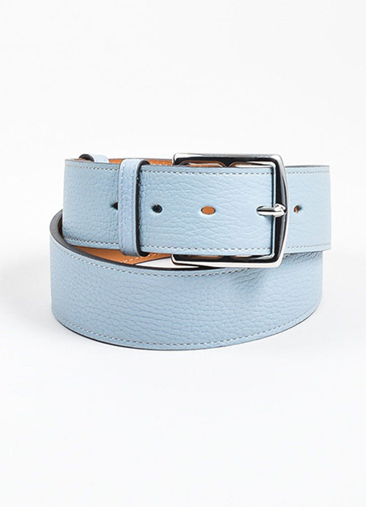 "Light Blue, Tan, and Silver Toned Leather Hermes ""Etriviere"" Belt Frontview"