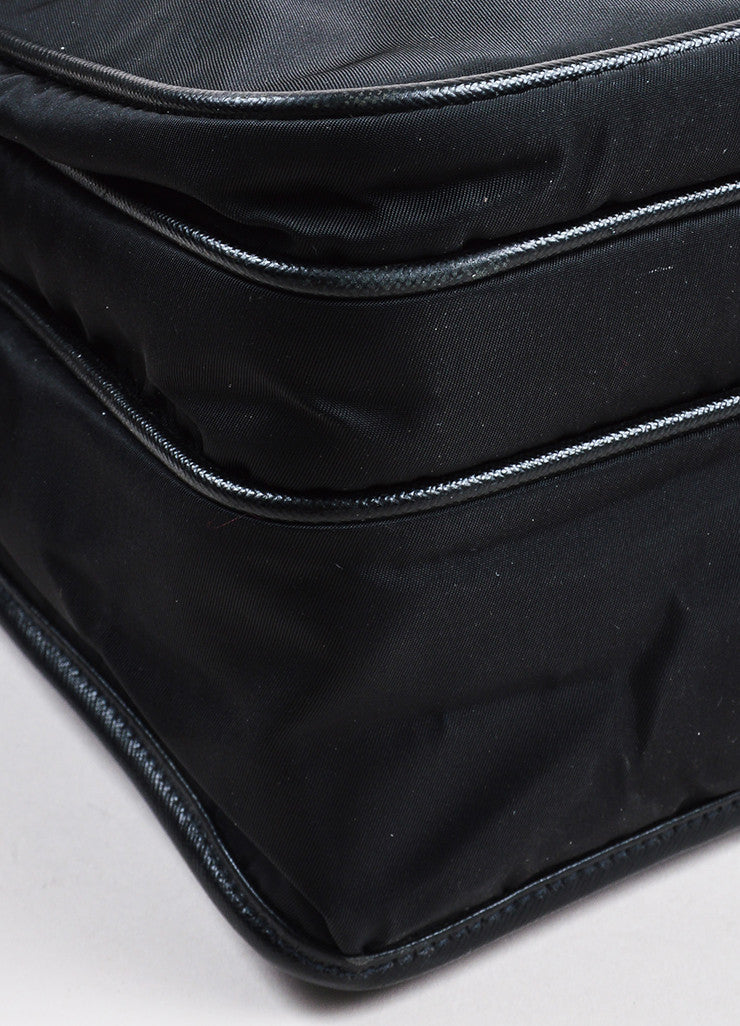 Prada Black Silver Toned Nylon Double Pocket Buckle Messenger Bag Detail