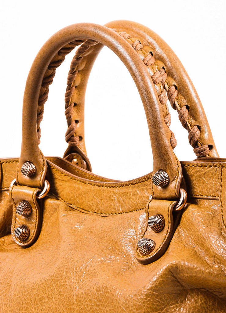 "Balenciaga Light Brown Leather ""Giant 12 Gold City"" Bag Detail 2"
