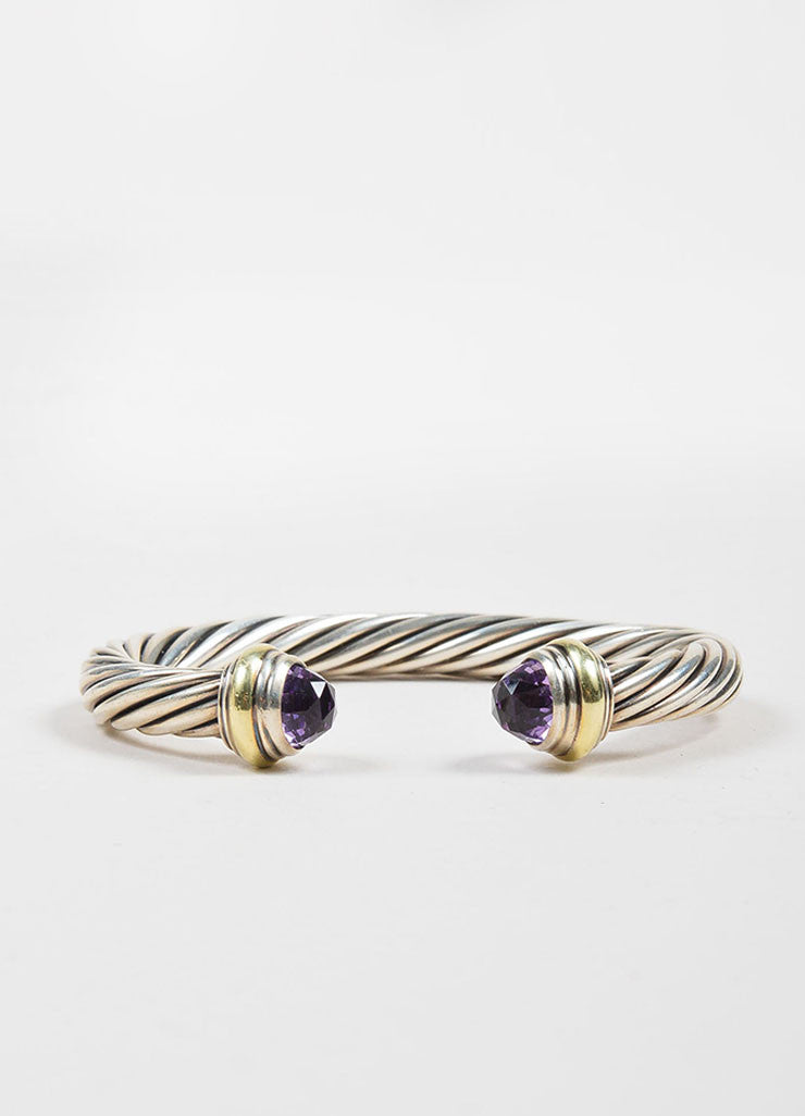 David Yurman Sterling Silver, 14K Yellow Gold, and Amethyst 7mm Cable Bracelet Backview