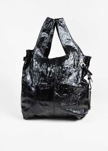 "Givenchy Black Crinkled Patent Leather ""George V"" Tote Bag Frontview"