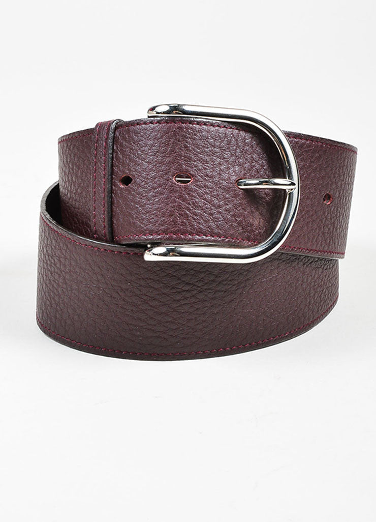 Burgundy Brown Hermes Pebbled Leather Silver Toned Hardware Wide Belt Frontview