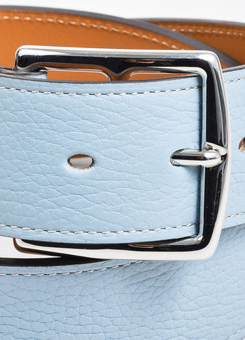 "Light Blue, Tan, and Silver Toned Leather Hermes ""Etriviere"" Belt Detail"