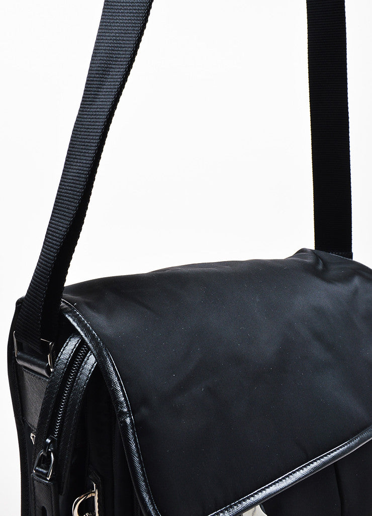 Prada Black Silver Toned Nylon Double Pocket Buckle Messenger Bag Detail 2