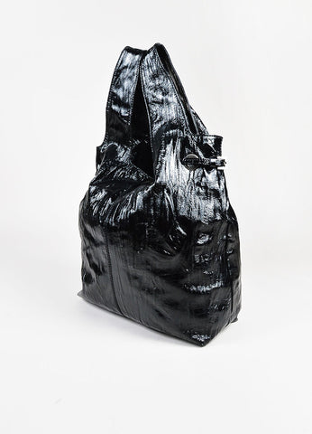 "Givenchy Black Crinkled Patent Leather ""George V"" Tote Bag Sideview"