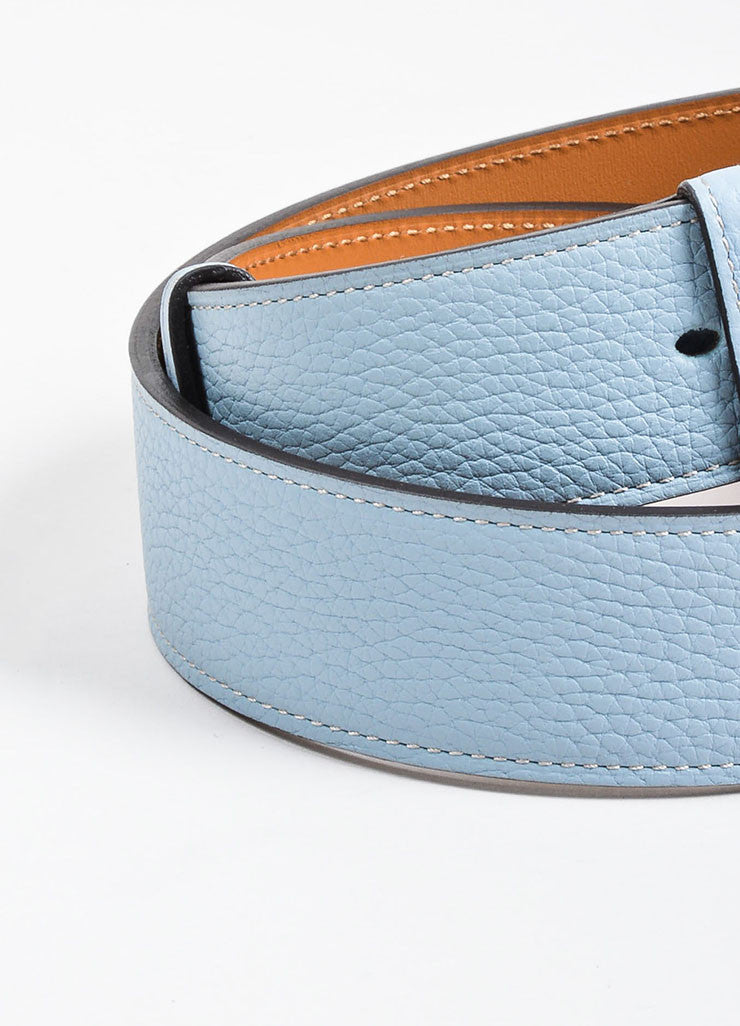"Light Blue, Tan, and Silver Toned Leather Hermes ""Etriviere"" Belt Detail 2"