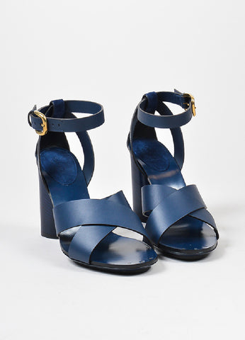 "Navy Gucci Leather Criss Cross Ankle Strap ""Candy"" Heeled Sandals Frontview"