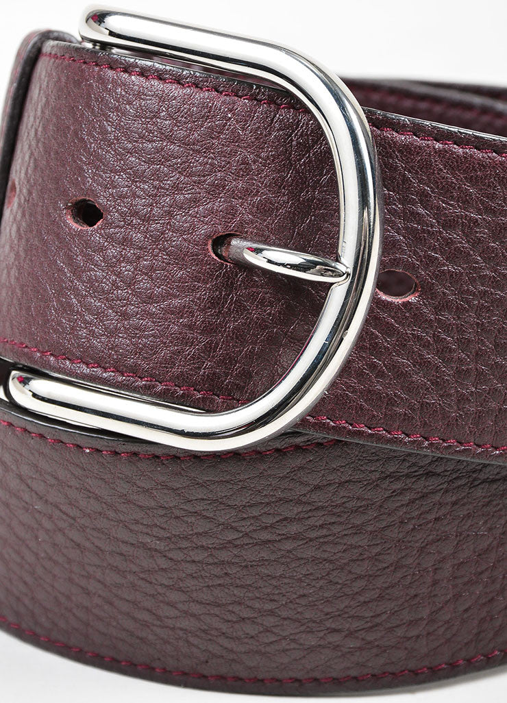 Burgundy Brown Hermes Pebbled Leather Silver Toned Hardware Wide Belt Detail
