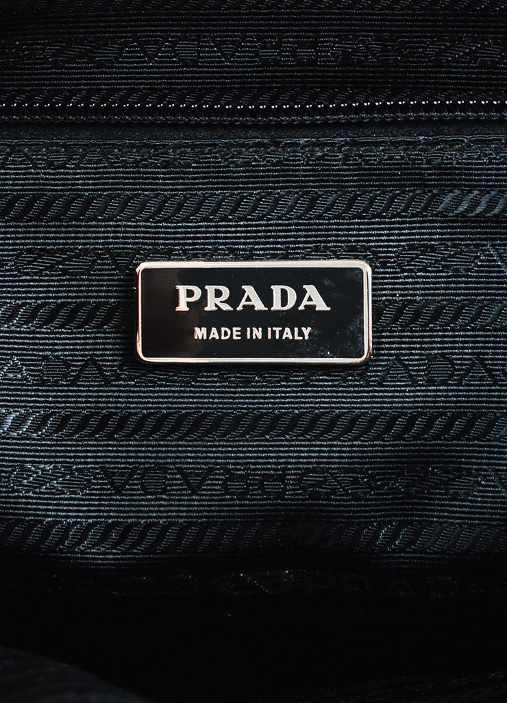 Prada Black Silver Toned Nylon Double Pocket Buckle Messenger Bag Brand