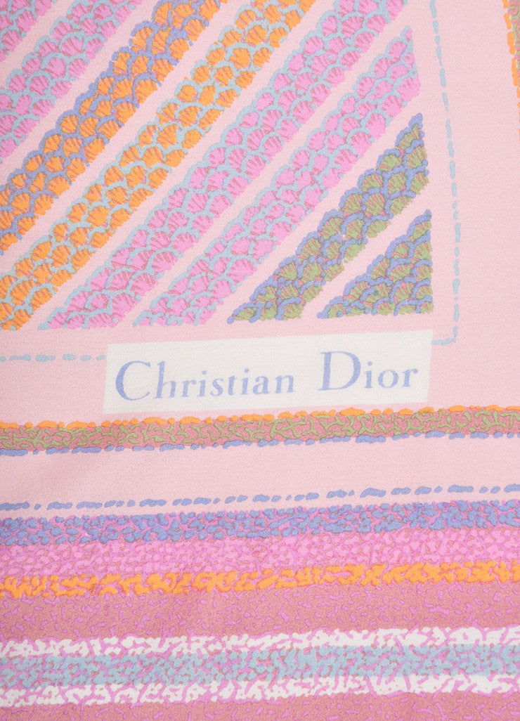 Christian Dior Pink and Multicolor Watercolor Abstract Floral Print Silk Scarf Brand