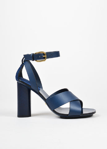 "Navy Gucci Leather Criss Cross Ankle Strap ""Candy"" Heeled Sandals Sideview"