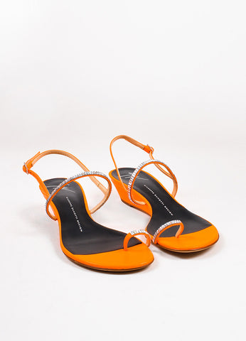 Giuseppe Zanotti Neon Orange Leather Crystal Embellished Toe Strap Sandals Frontview