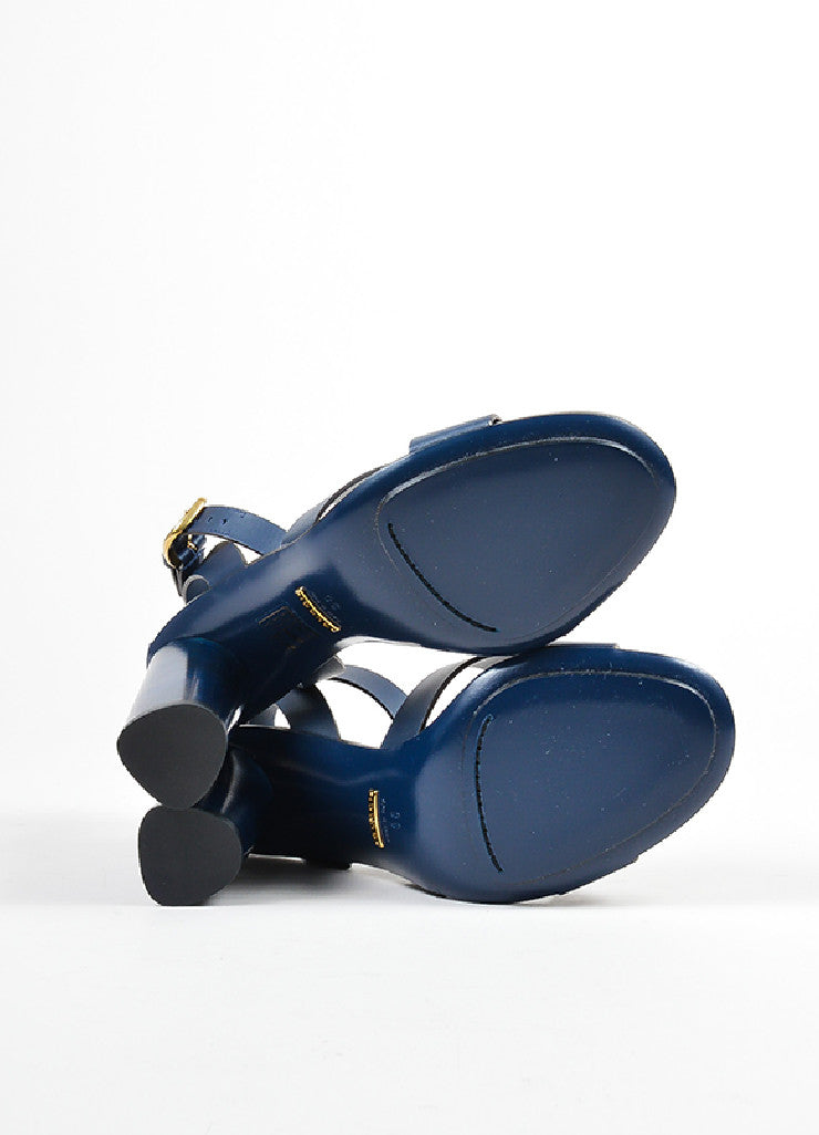 "Navy Gucci Leather Criss Cross Ankle Strap ""Candy"" Heeled Sandals Outsoles"