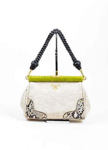 "Beige and Prada Green Tweed Python ""Lino Twist"" Braid Strap Frame Shoulder Bag Frontview"