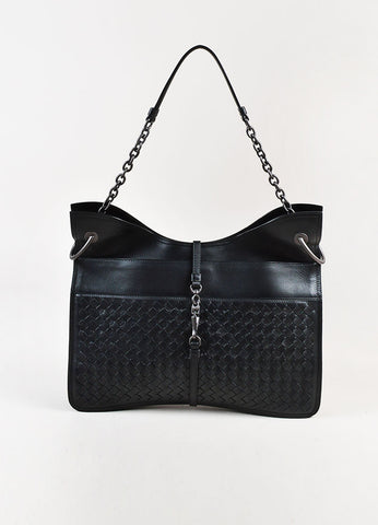 Bottega Veneta Black Intrecciato Leather Beverly Medium Flat Hobo Bag Front