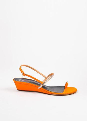Giuseppe Zanotti Neon Orange Leather Crystal Embellished Toe Strap Sandals Sideview