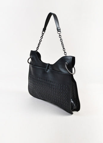 Bottega Veneta Black Intrecciato Leather Beverly Medium Flat Hobo Bag Back