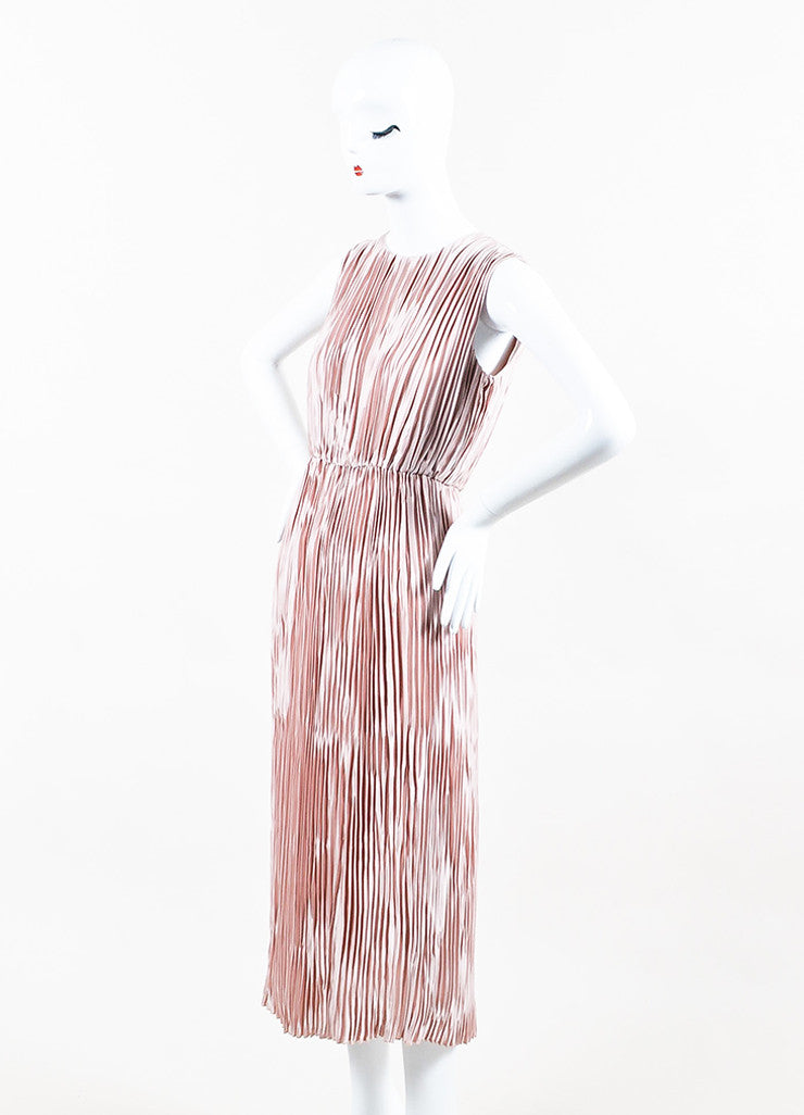 Dusty Rose Gucci Satin Sleeveless Pleated Open Back Dress Front
