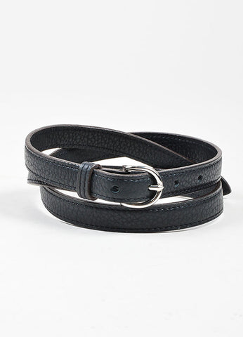 Black and Silver Toned Hermes Pebbled Leather Skinny Belt Frontview