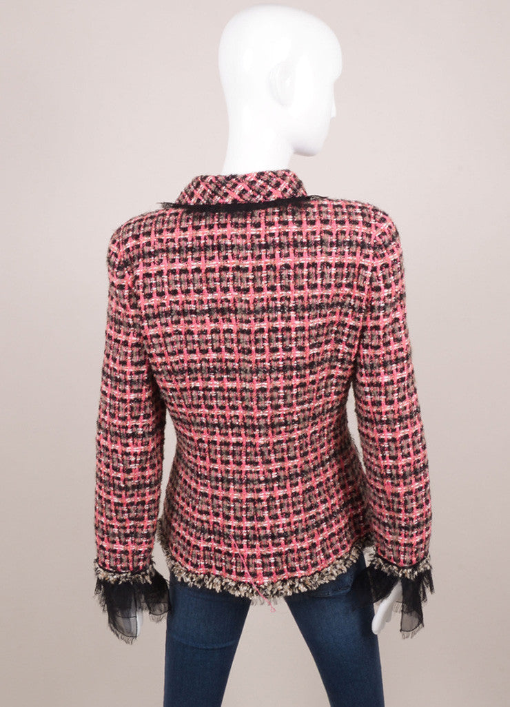 Pink, Black, and Tan Metallic Tweed Lace Chain Jacket