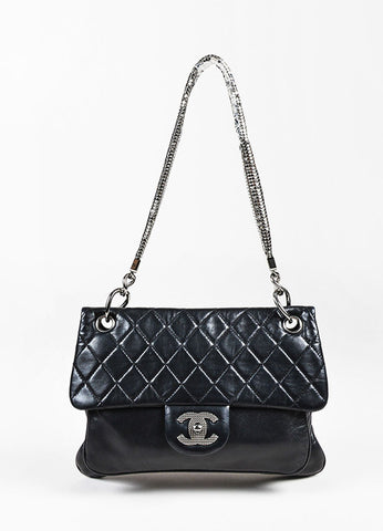 Chanel Black Quilted Lambskin Silver Tone Chain Mail Shoulder Strap Flap Bag Frontview