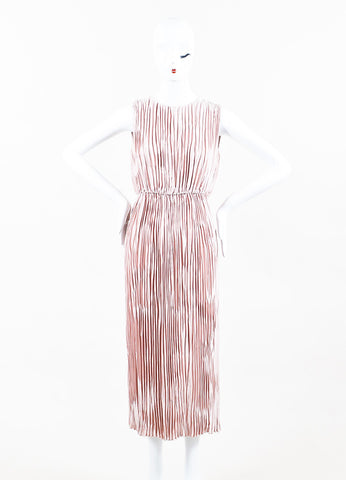 Dusty Rose Gucci Satin Sleeveless Pleated Open Back Dress Front 2