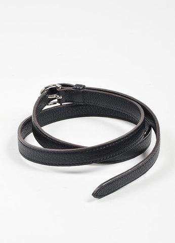 Black and Silver Toned Hermes Pebbled Leather Skinny Belt Backview