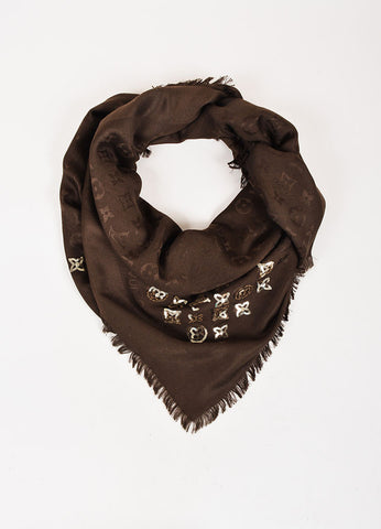 Louis Vuitton Brown Monogram Silk Wool Sequined Fringe Shawl Scarf Frontview
