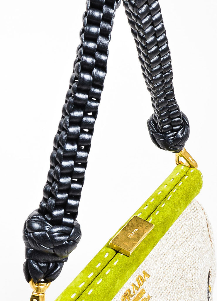 "Beige and Prada Green Tweed Python ""Lino Twist"" Braid Strap Frame Shoulder Bag Detail 2"
