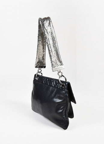 Chanel Black Quilted Lambskin Silver Tone Chain Mail Shoulder Strap Flap Bag Sideview